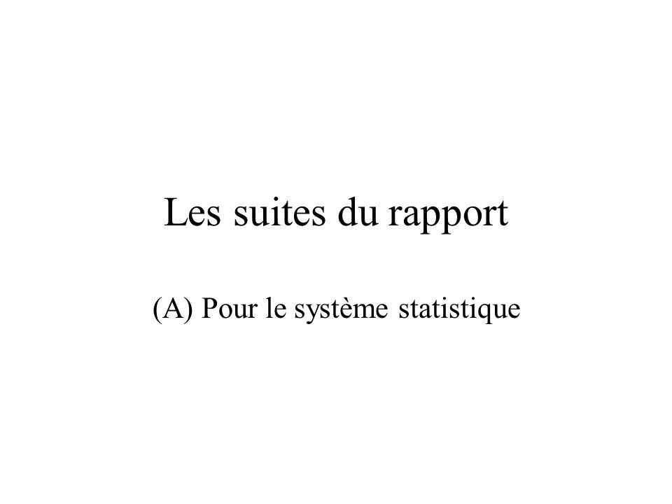 Les suites du rapport (A) Pour le système statistique