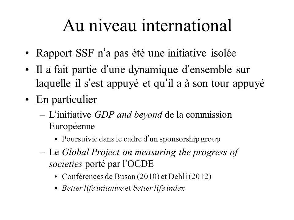 Au niveau international Rapport SSF n a pas été une initiative isolée Il a fait partie d une dynamique d ensemble sur laquelle il s est appuyé et qu i