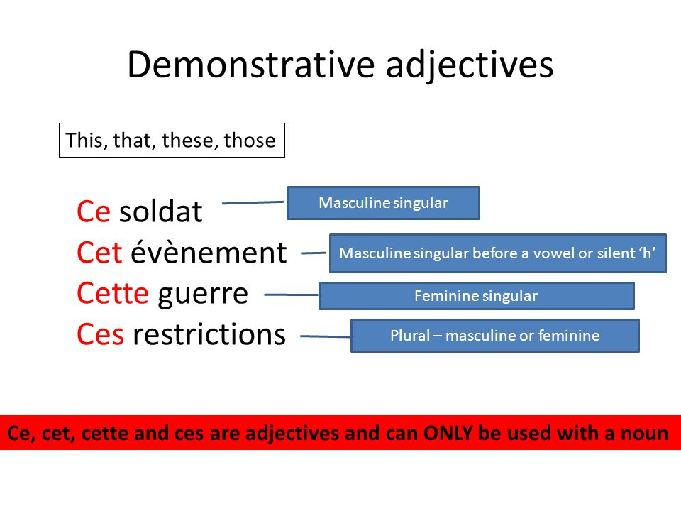 Demonstrative adjectives This, that, these, those Ce soldat Cet évènement Cette guerre Ces restrictions Masculine singular Masculine singular before a vowel or silent h Feminine singular Plural – masculine or feminine Ce, cet, cette and ces are adjectives and can ONLY be used with a noun
