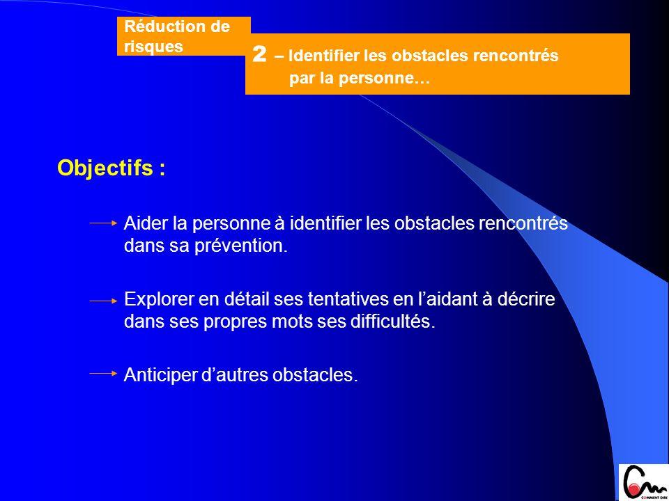 Objectifs : Aider la personne à identifier les obstacles rencontrés dans sa prévention. Explorer en détail ses tentatives en laidant à décrire dans se
