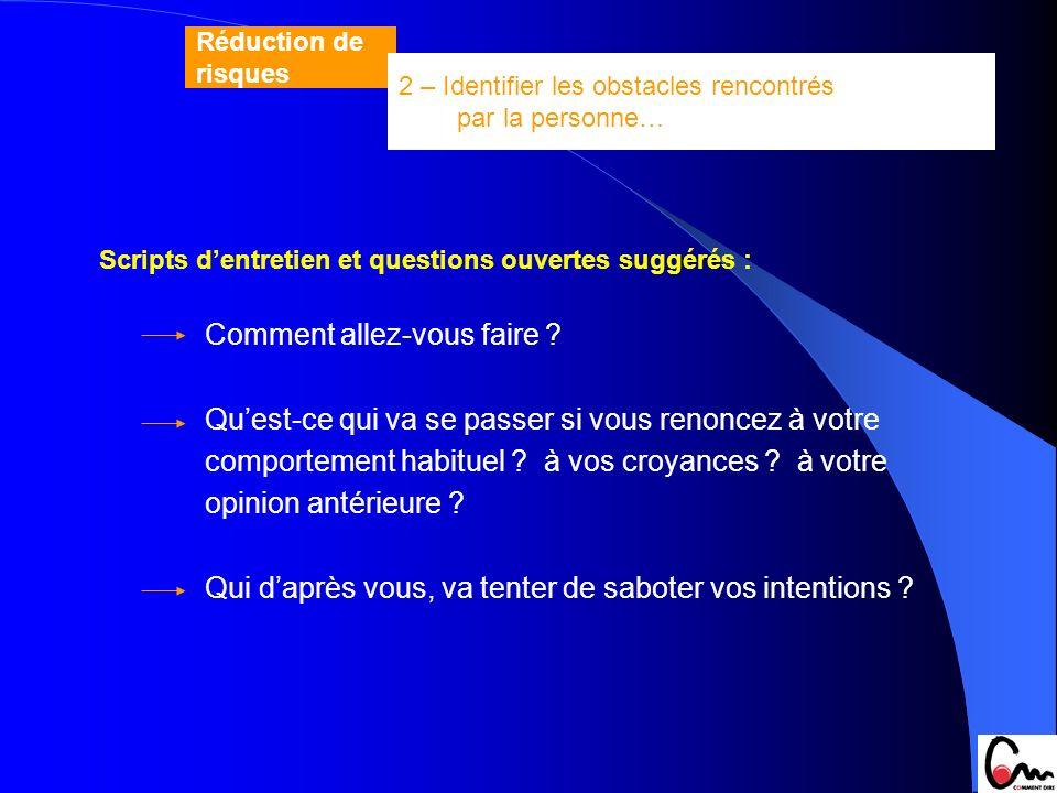 Scripts dentretien et questions ouvertes suggérés : Comment allez-vous faire ? Quest-ce qui va se passer si vous renoncez à votre comportement habitue