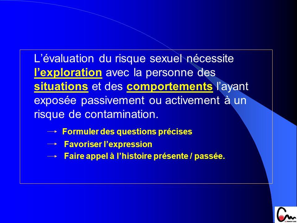 Lévaluation du risque sexuel nécessite lexploration avec la personne des situations et des comportements layant exposée passivement ou activement à un