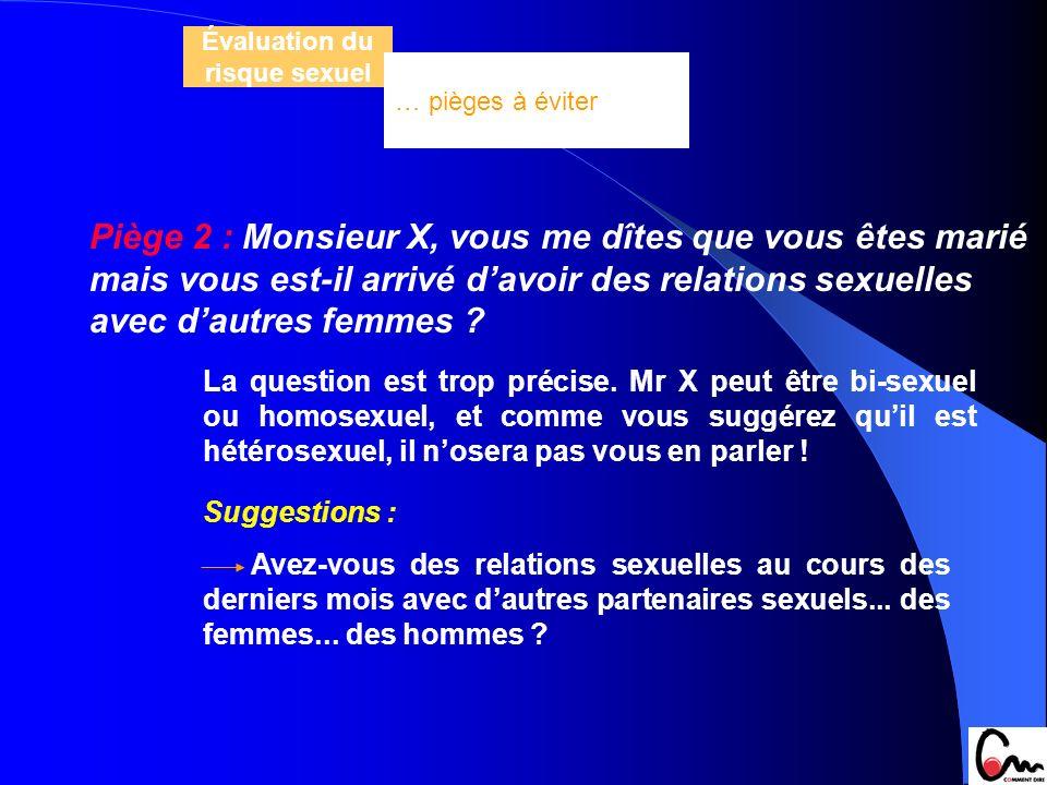 Piège 2 : Monsieur X, vous me dîtes que vous êtes marié mais vous est-il arrivé davoir des relations sexuelles avec dautres femmes ? La question est t