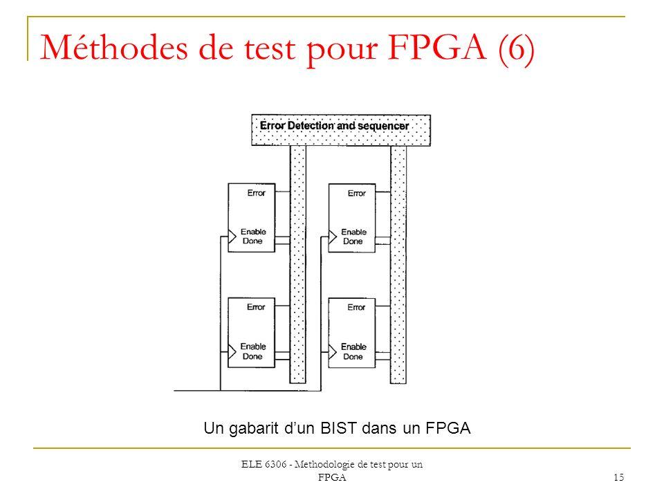 ELE 6306 - Methodologie de test pour un FPGA 15 Méthodes de test pour FPGA (6) Un gabarit dun BIST dans un FPGA