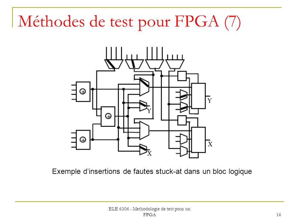 ELE 6306 - Methodologie de test pour un FPGA 16 Méthodes de test pour FPGA (7) Exemple dinsertions de fautes stuck-at dans un bloc logique