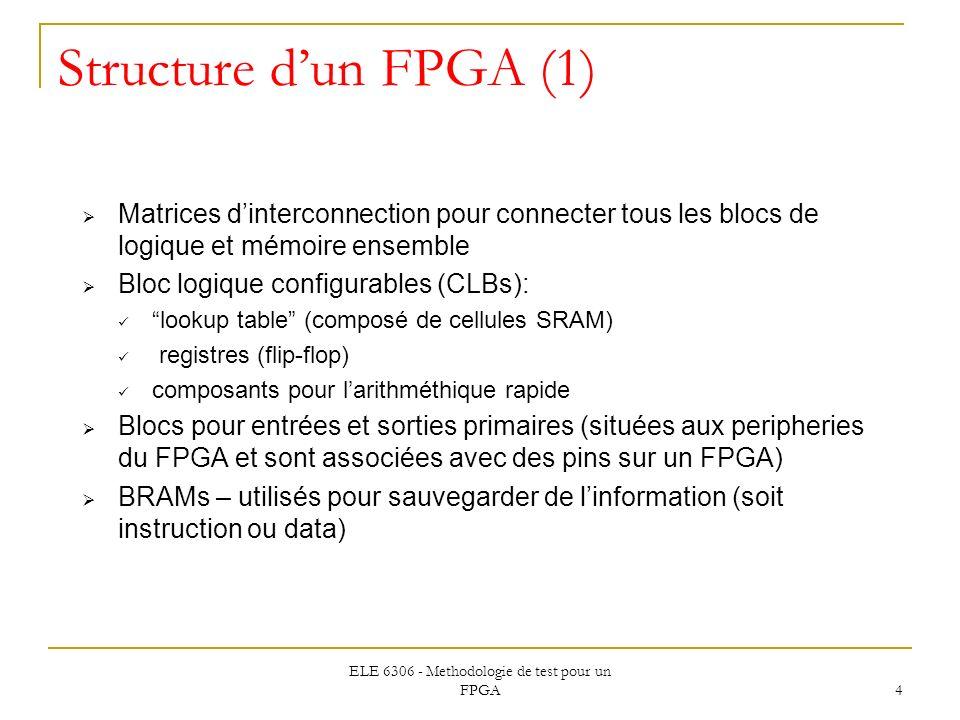 ELE 6306 - Methodologie de test pour un FPGA 4 Structure dun FPGA (1) Matrices dinterconnection pour connecter tous les blocs de logique et mémoire en