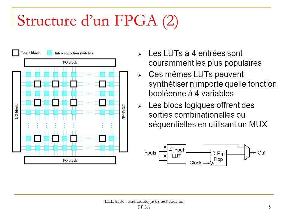 ELE 6306 - Methodologie de test pour un FPGA 5 Structure dun FPGA (2) Les LUTs à 4 entrées sont couramment les plus populaires Ces mêmes LUTs peuvent