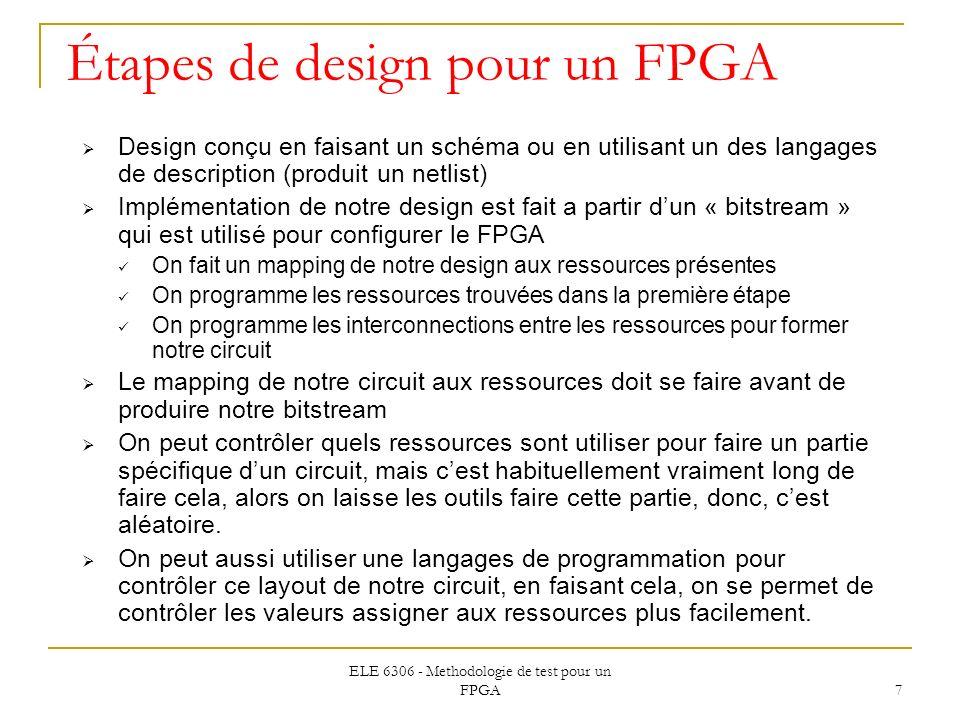 ELE 6306 - Methodologie de test pour un FPGA 7 Étapes de design pour un FPGA Design conçu en faisant un schéma ou en utilisant un des langages de desc