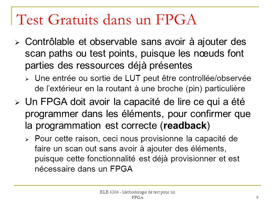ELE 6306 - Methodologie de test pour un FPGA 9 Test Gratuits dans un FPGA Contrôlable et observable sans avoir à ajouter des scan paths ou test points