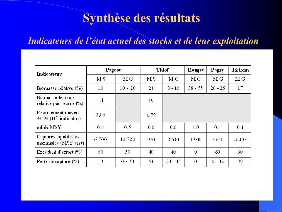 Synthèse des résultats Indicateurs de létat actuel des stocks et de leur exploitation