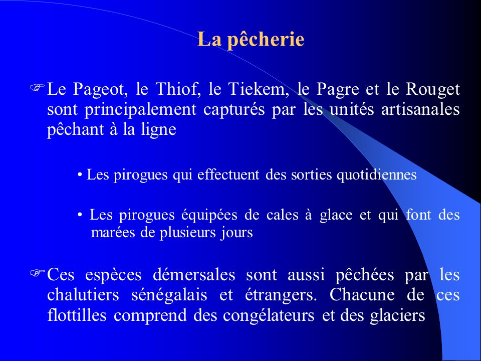 La pêcherie Le Pageot, le Thiof, le Tiekem, le Pagre et le Rouget sont principalement capturés par les unités artisanales pêchant à la ligne Les pirog