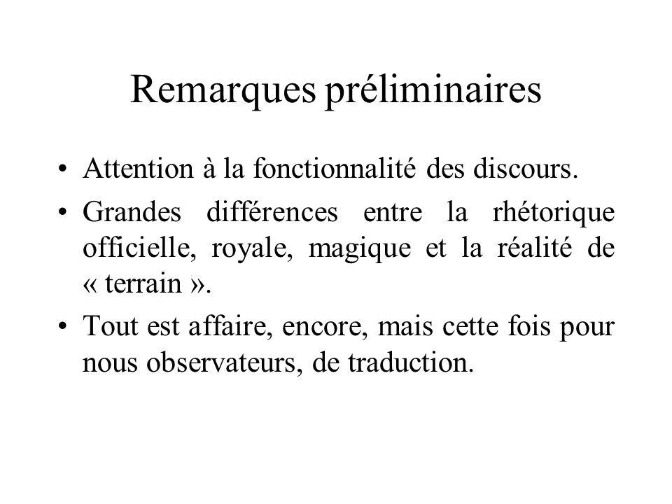 Remarques préliminaires Attention à la fonctionnalité des discours. Grandes différences entre la rhétorique officielle, royale, magique et la réalité
