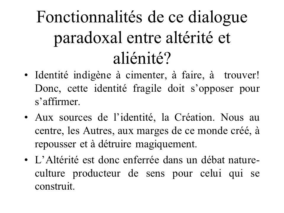 Fonctionnalités de ce dialogue paradoxal entre altérité et aliénité? Identité indigène à cimenter, à faire, à trouver! Donc, cette identité fragile do