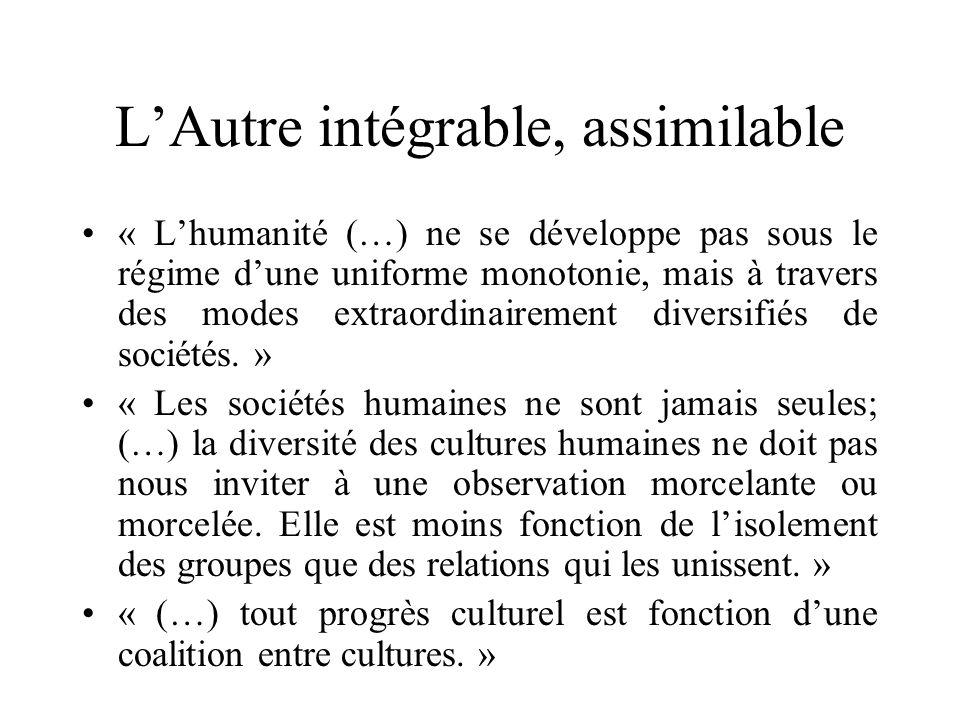 LAutre intégrable, assimilable « Lhumanité (…) ne se développe pas sous le régime dune uniforme monotonie, mais à travers des modes extraordinairement