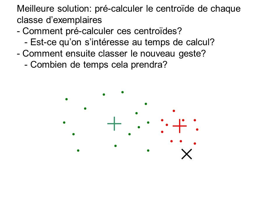 Meilleure solution: pré-calculer le centroïde de chaque classe dexemplaires - Comment pré-calculer ces centroïdes? - Est-ce quon sintéresse au temps d