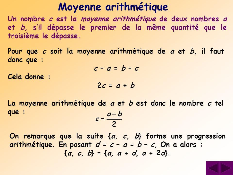 Un nombre c est la moyenne arithmétique de deux nombres a et b, sil dépasse le premier de la même quantité que le troisième le dépasse. Moyenne arithm