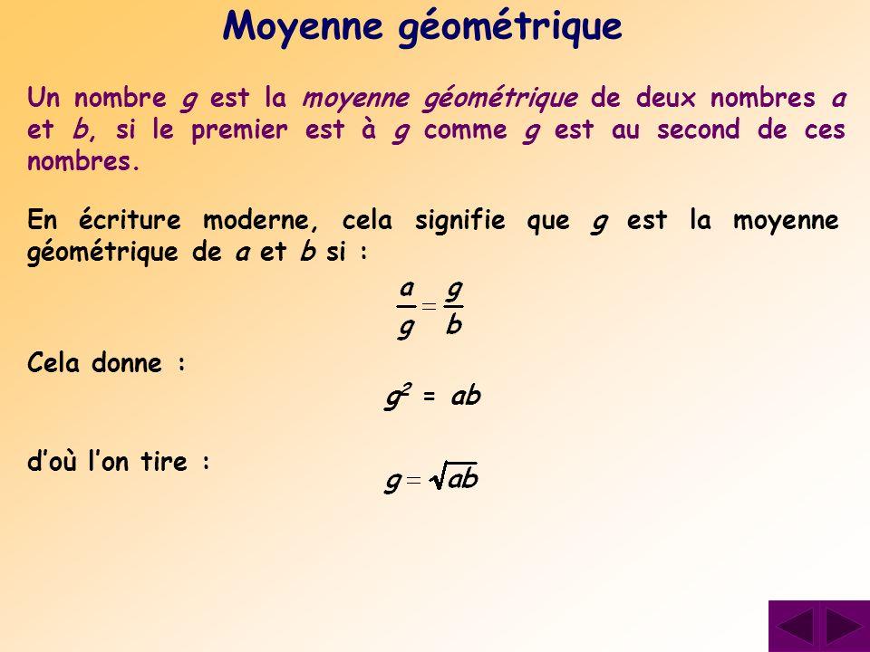 Un nombre g est la moyenne géométrique de deux nombres a et b, si le premier est à g comme g est au second de ces nombres. Moyenne géométrique Cela do