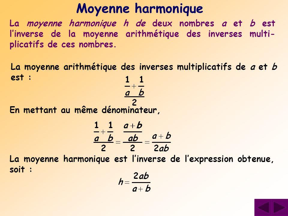 La moyenne harmonique h de deux nombres a et b est linverse de la moyenne arithmétique des inverses multi- plicatifs de ces nombres. Moyenne harmoniqu