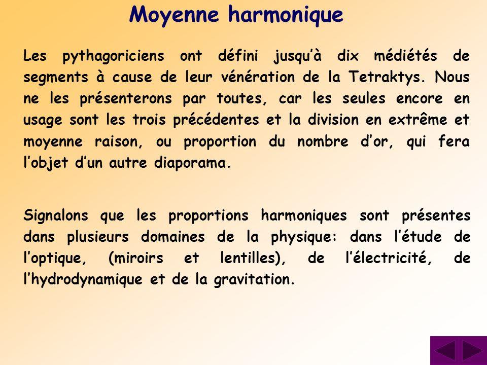 Les pythagoriciens ont défini jusquà dix médiétés de segments à cause de leur vénération de la Tetraktys. Nous ne les présenterons par toutes, car les