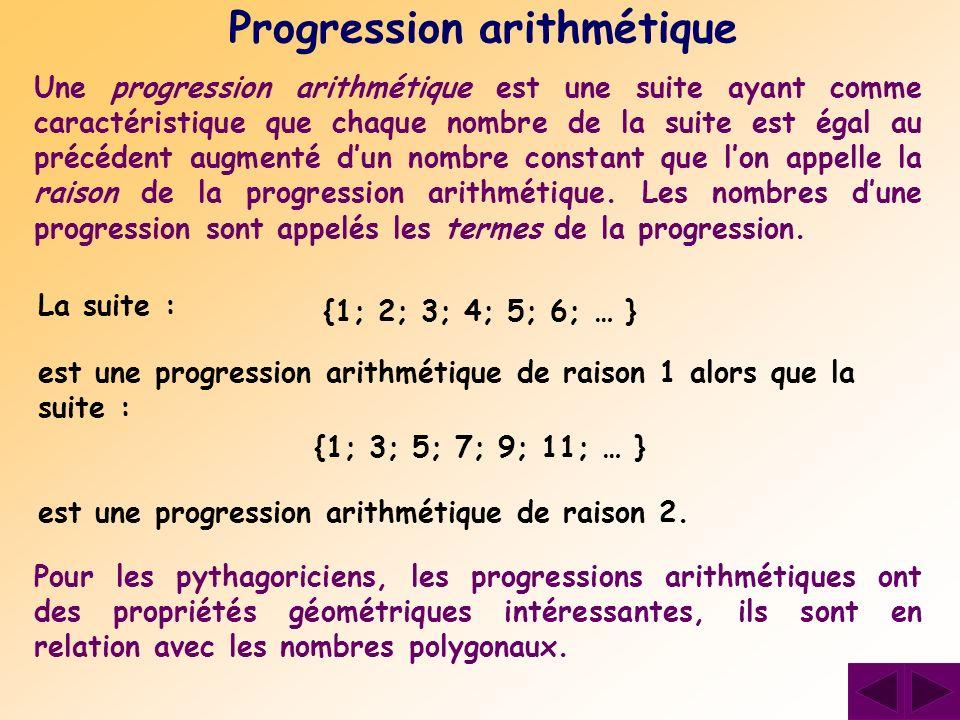 Progression arithmétique Pour les pythagoriciens, les progressions arithmétiques ont des propriétés géométriques intéressantes, ils sont en relation a
