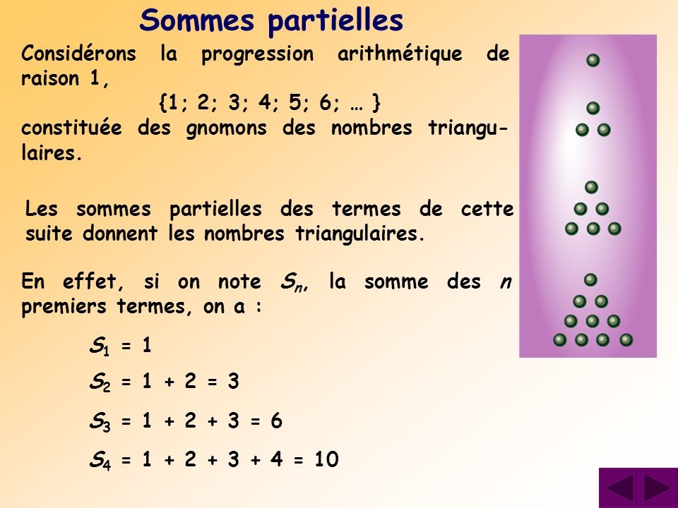 Sommes partielles Considérons la progression arithmétique de raison 1, {1; 2; 3; 4; 5; 6; … } constituée des gnomons des nombres triangu- laires. Les