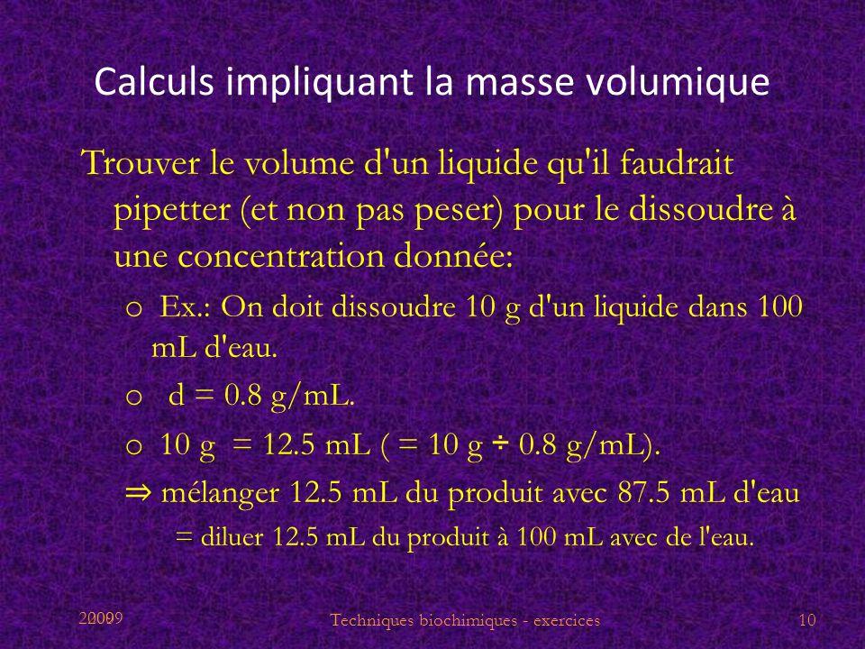 2009 Calculs impliquant la masse volumique Trouver le volume d'un liquide qu'il faudrait pipetter (et non pas peser) pour le dissoudre à une concentra