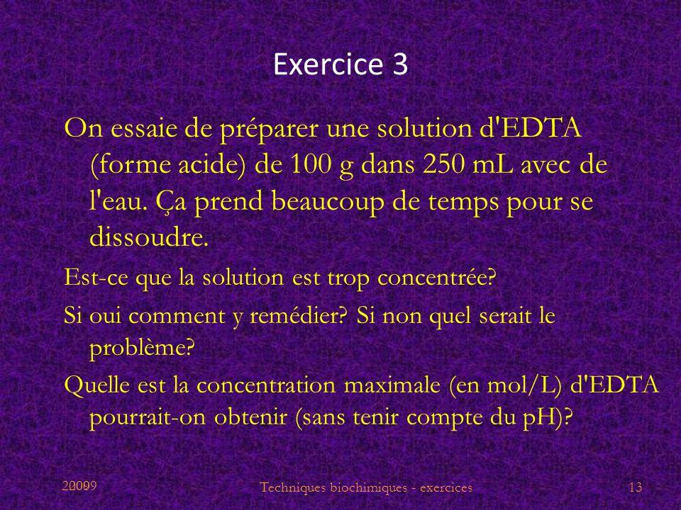 2009 Exercice 3 On essaie de préparer une solution d'EDTA (forme acide) de 100 g dans 250 mL avec de l'eau. Ça prend beaucoup de temps pour se dissoud