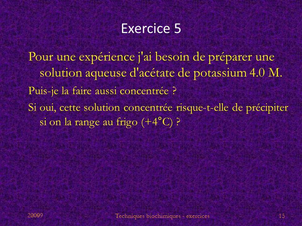 2009 Exercice 5 Pour une expérience j'ai besoin de préparer une solution aqueuse d'acétate de potassium 4.0 M. Puis-je la faire aussi concentrée ? Si