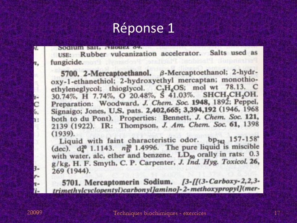 2009 Réponse 1 Techniques biochimiques - exercices17