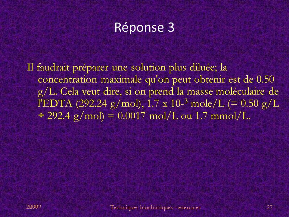 2009 Réponse 3 Il faudrait préparer une solution plus diluée; la concentration maximale qu'on peut obtenir est de 0.50 g/L. Cela veut dire, si on pren
