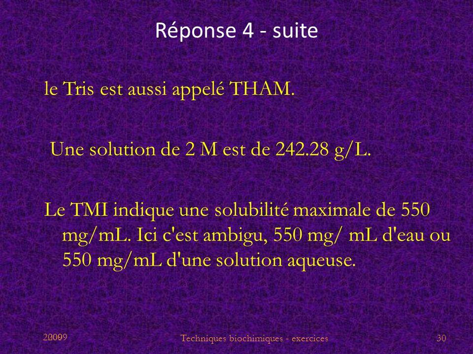 2009 Réponse 4 - suite le Tris est aussi appelé THAM. Une solution de 2 M est de 242.28 g/L. Le TMI indique une solubilité maximale de 550 mg/mL. Ici