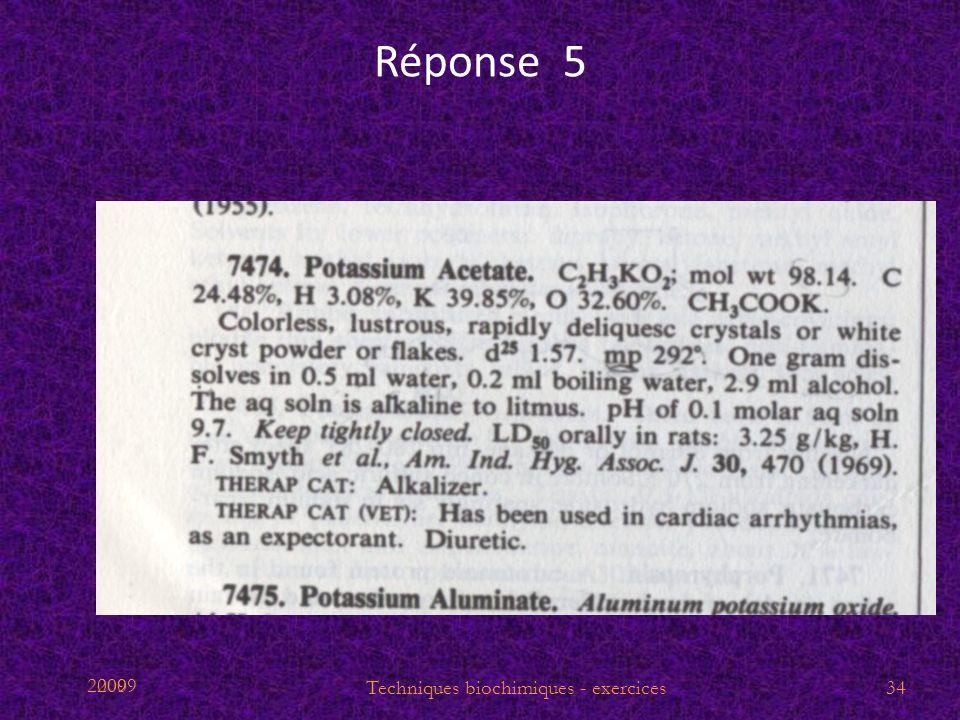 2009 Réponse 5 34Techniques biochimiques - exercices