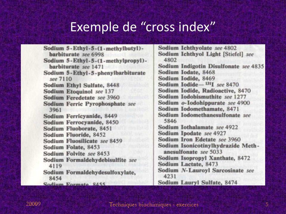 2009 Exemple de cross index 5Techniques biochimiques - exercices