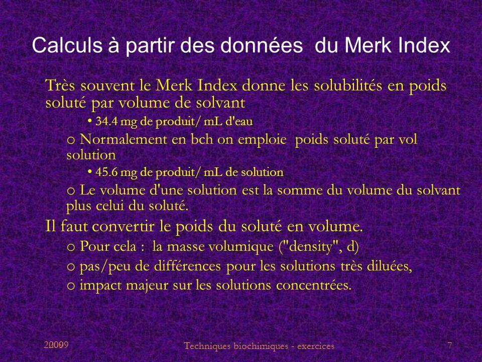 2009 Calculs à partir des données du Merk Index Très souvent le Merk Index donne les solubilités en poids soluté par volume de solvant 34.4 mg de prod