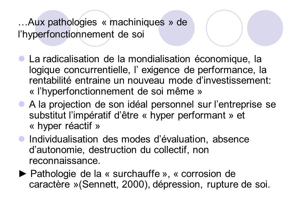 …Aux pathologies « machiniques » de lhyperfonctionnement de soi La radicalisation de la mondialisation économique, la logique concurrentielle, l exige
