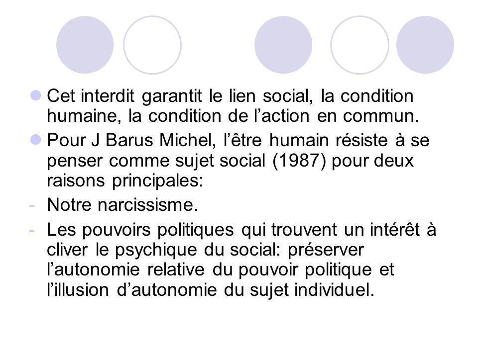 Cet interdit garantit le lien social, la condition humaine, la condition de laction en commun. Pour J Barus Michel, lêtre humain résiste à se penser c