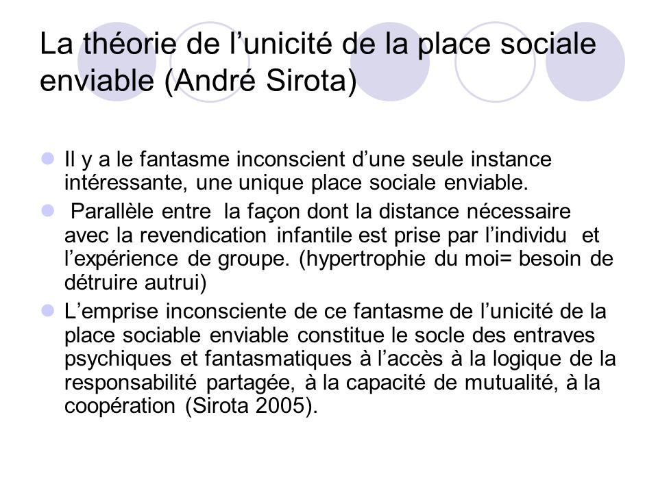 La théorie de lunicité de la place sociale enviable (André Sirota) Il y a le fantasme inconscient dune seule instance intéressante, une unique place s