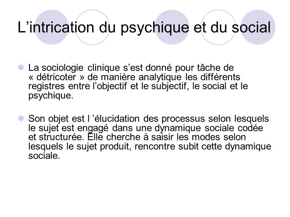 Lintrication du psychique et du social La sociologie clinique sest donné pour tâche de « détricoter » de manière analytique les différents registres e
