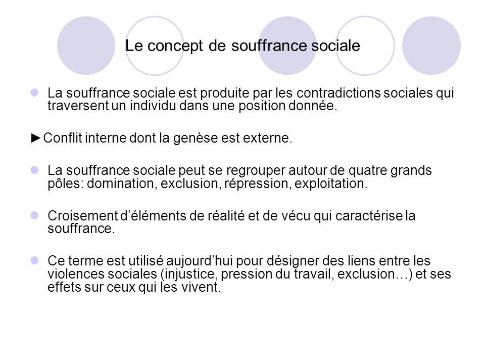Le concept de souffrance sociale La souffrance sociale est produite par les contradictions sociales qui traversent un individu dans une position donné