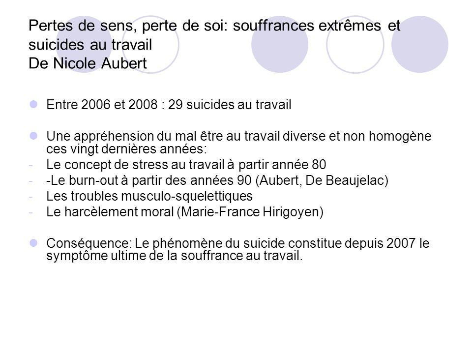 Pertes de sens, perte de soi: souffrances extrêmes et suicides au travail De Nicole Aubert Entre 2006 et 2008 : 29 suicides au travail Une appréhensio