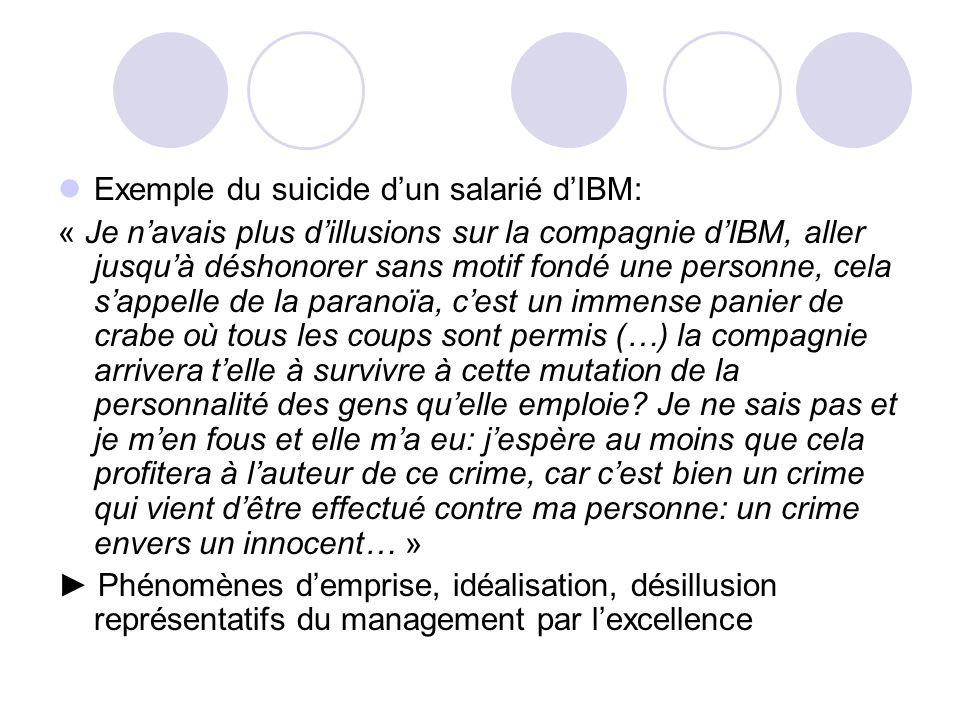 Exemple du suicide dun salarié dIBM: « Je navais plus dillusions sur la compagnie dIBM, aller jusquà déshonorer sans motif fondé une personne, cela sa