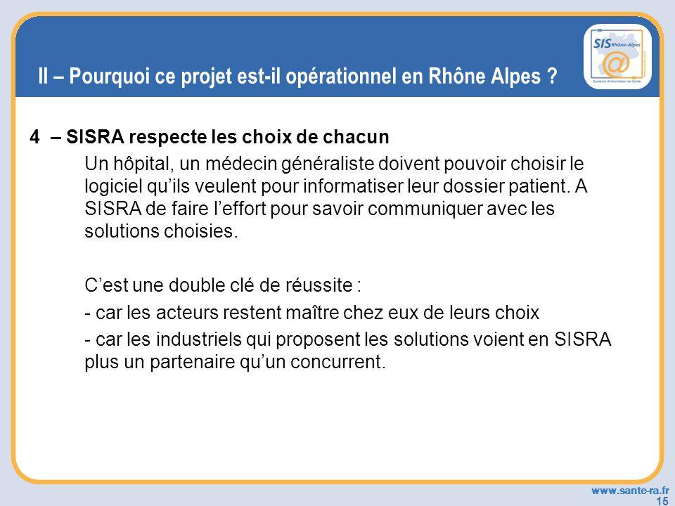 www.sante-ra.fr 15 II – Pourquoi ce projet est-il opérationnel en Rhône Alpes ? 4 – SISRA respecte les choix de chacun Un hôpital, un médecin générali
