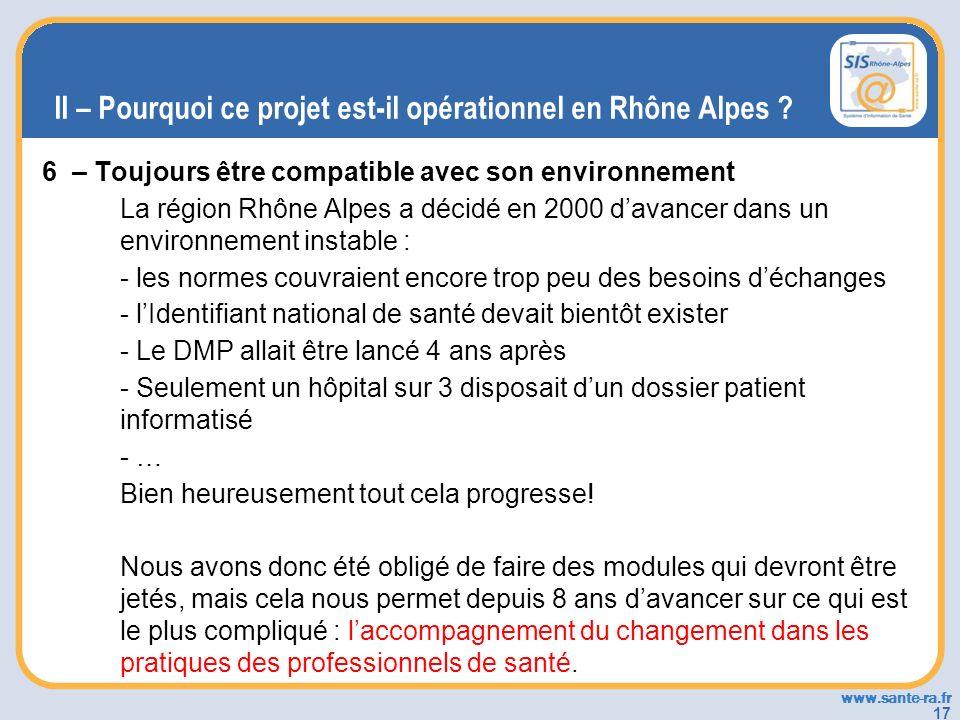 www.sante-ra.fr 17 II – Pourquoi ce projet est-il opérationnel en Rhône Alpes ? 6 – Toujours être compatible avec son environnement La région Rhône Al