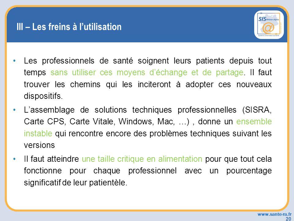 www.sante-ra.fr 20 III – Les freins à lutilisation Les professionnels de santé soignent leurs patients depuis tout temps sans utiliser ces moyens déch