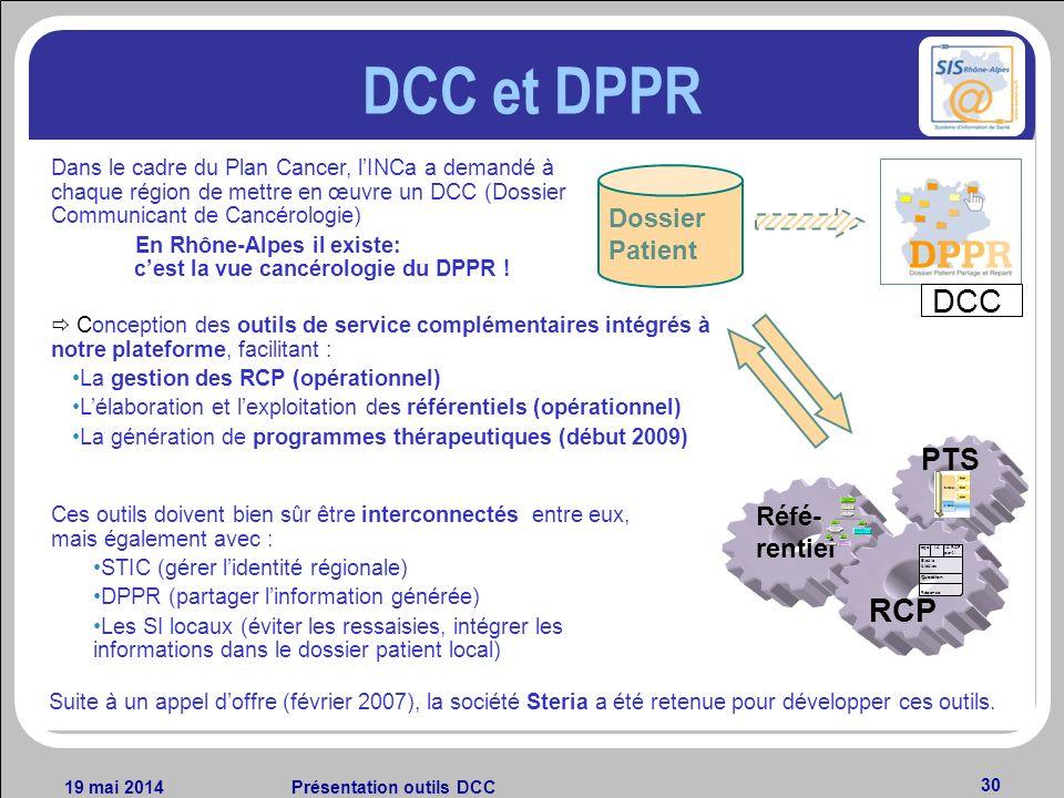 19 mai 2014Présentation outils DCC 30 DCC et DPPR Conception des outils de service complémentaires intégrés à notre plateforme, facilitant : La gestio