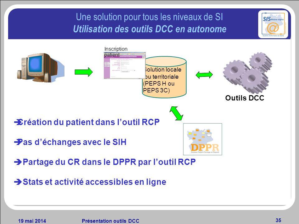 19 mai 2014Présentation outils DCC 35 Une solution pour tous les niveaux de SI Utilisation des outils DCC en autonome Création du patient dans loutil