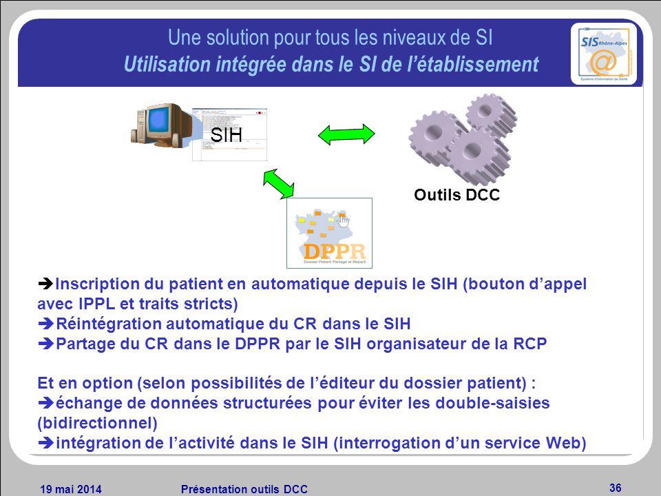 19 mai 2014Présentation outils DCC 36 Une solution pour tous les niveaux de SI Utilisation intégrée dans le SI de létablissement SIH Inscription du pa