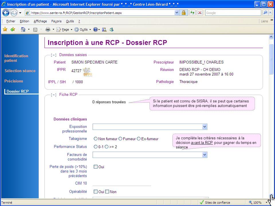19 mai 2014Présentation outils DCC 42 Si le patient est connu de SISRA, il se peut que certaines information puissent être pré-remplies automatiquemen
