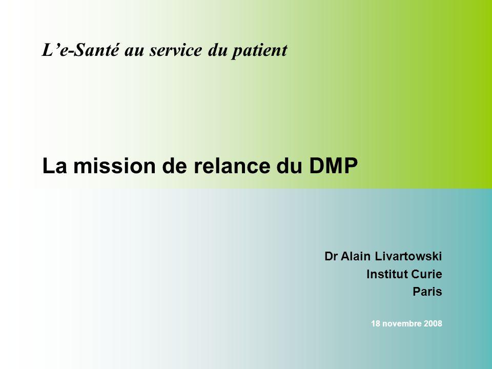 Le-Santé au service du patient La mission de relance du DMP Dr Alain Livartowski Institut Curie Paris 18 novembre 2008
