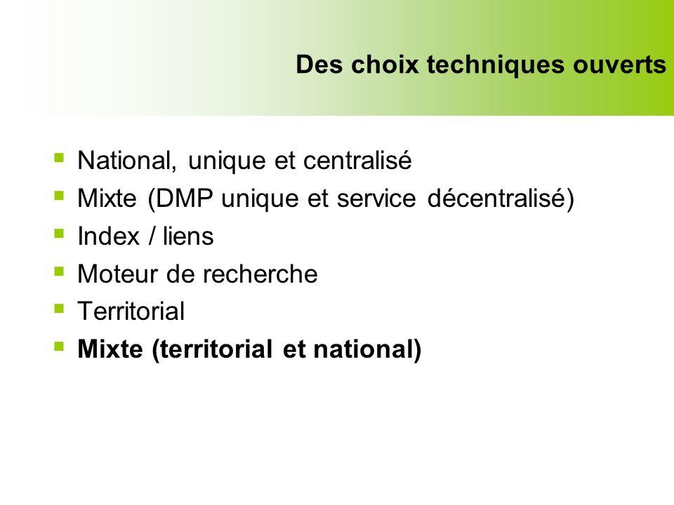Ne pas confondre communication et partage Des choix techniques ouverts National, unique et centralisé Mixte (DMP unique et service décentralisé) Index